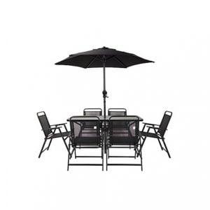 Bahama Metal 6 seater Dining set with Parasol