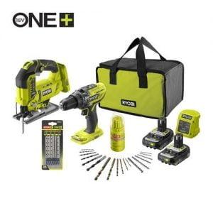 RYOBI 18V ONE+ Cordless Combi Drill, Jigsaw & Accessories Starter Kit (2 x 2.0Ah) R18PDJS-220SA