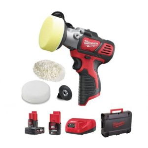 Milwaukee M12 BPS-421X 12V Compact Polisher/Sander Kit (1 x 2.0Ah / 1 x 4.0Ah RedLithium-Ion Batteries, Charger & Dyna Case)