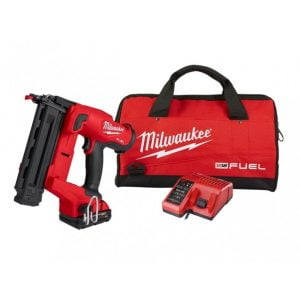 Milwaukee M18 FN18GS-202X 18V Fuel 18G Finish Nailer Kit (2 x 2.0Ah RedLithium-Ion Batteries, Charger & Toolbag)